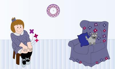 Niña sentada y sillón con gato.