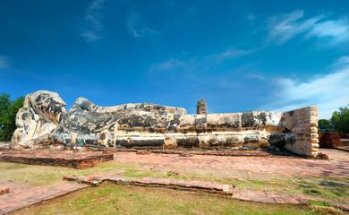 Statue of Reclining Buddha in Wat Lokayasutharam, Ayutthaya