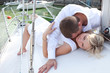 Couple on yacht in love. Honeymoon.