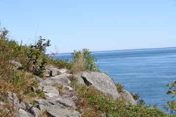 cliffs on Bold Coast trail downeast maine
