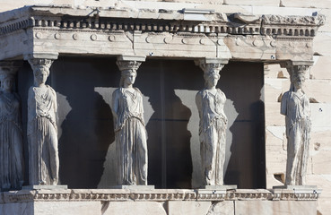 Caryatids on Erechtheion of Erechtheum in Athens
