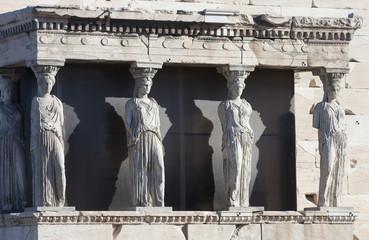 Caryatids on Erechtheion of Erechtheum in Athens