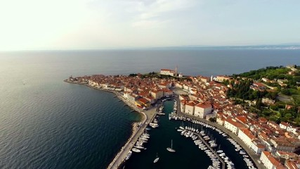 flying over the city of piran, slovenia