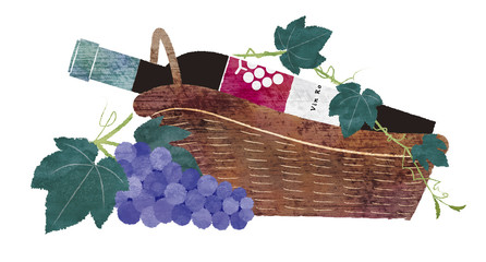 赤ワインとワインバスケットと葡萄