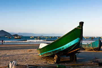 Fishing boats on the beach Pereque, Brazil