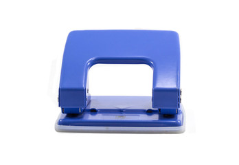 Blue office paper hole puncher isolated on white background