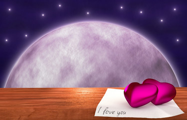 purple hearts on wooden table - moon background