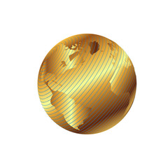 Golden globe planet illustration with geographical grid