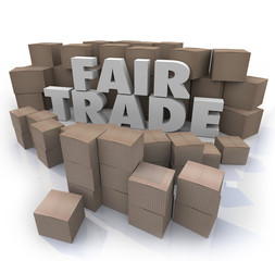 Fair Trade Words 3d Letters Cardboard Boxes Responsible Business