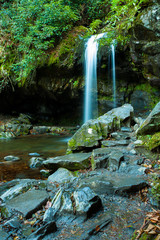 Sideview of Grotto Falls in Great Smoky Mountain