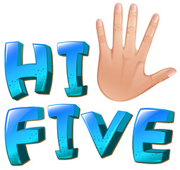 A hi-five artwork with a palm