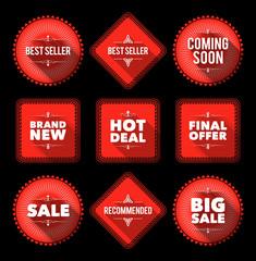 Red promotion badges. EPS10.