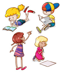 Simple sketches of kids reading and writing