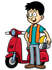 Vector Illustration of Cartoon biker man