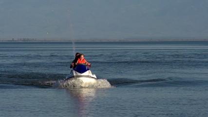 Riding on a jet ski