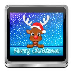 Reindeer Rudolph wishing Merry Christmas Button