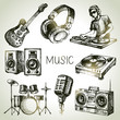 Sketch music set. Hand drawn vector illustrations of Dj icons - 70063983