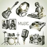Sketch music set. Hand drawn vector illustrations of Dj icons - 70063983