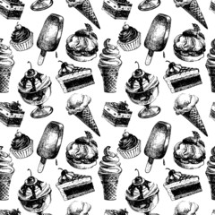 Seamless pattern with ice cream and cakes. Hand drawn sketch