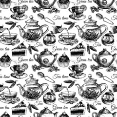 Tea and cake seamless pattern. Hand drawn sketch vector