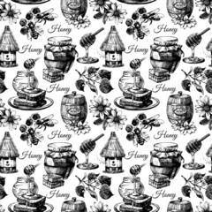Vector honey seamless pattern with hand drawn sketch
