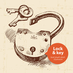 Hand drawn sketch vintage lock and key banner.