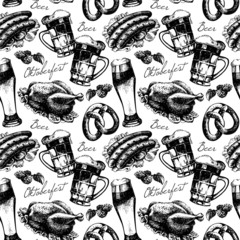 Oktoberfest vintage seamless pattern. Hand drawn sketch vector