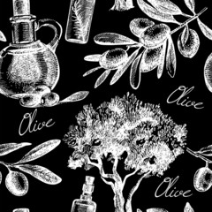 Vintage olive seamless pattern. Hand drawn sketch vector
