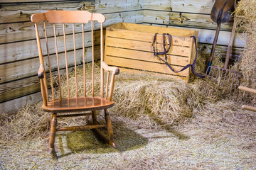 Rocking chair and hay stack