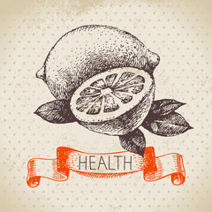 Sketch healthy background with lemon. Hand drawn vector