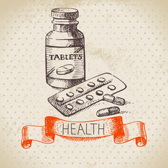 Sketch healthy and medical set. Hand drawn vector illustration