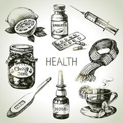 Sketch healthy and medical set. Hand drawn vector illustration