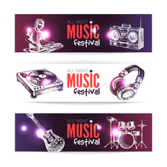 Banners of music design. Set of hand drawn sketch Dj backgrounds
