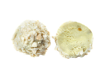 Candy made of white chocolate with wafer crumbs