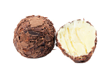 Dark chocolate candy with cream filling