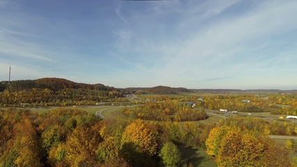 aerial view of highway junction in autumn
