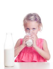Child drinks milk