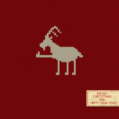 Knitted pattern card with funny goat
