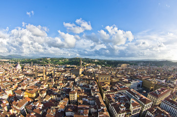 Panoramic bird eye view at city of Florence, Tuscany