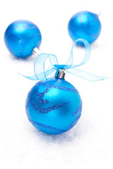 blue christmas balls isolated on white background
