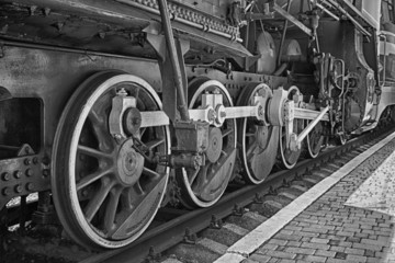 Wheels of steam locomotive