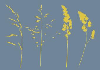 set of four plant yellow silhouettes