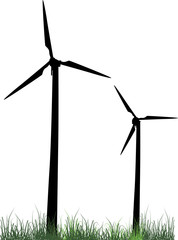 two wind power generator silhouettes in green grass