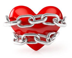 Heart in chains. 3d illustration