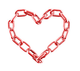 Chain in shape of heart. 3d illustration Isolated