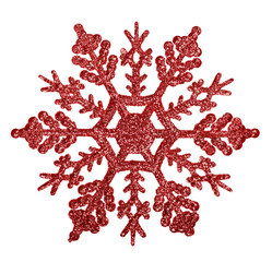 red snowflake shape decoration isolted on white