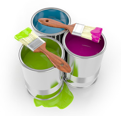 paint can with paintbrushes and paint isolated