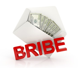 Bribe. white envelope with money - dollar banknotes