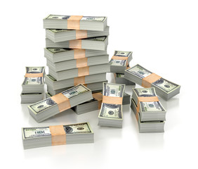 dollar stacks isolated on white background. 3d illustration.