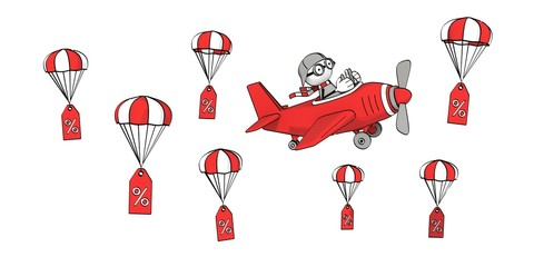 little sketchy man in red plane and percent signs on parachute